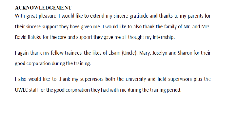 5+ Examples of Acknowledgement for Internship Report